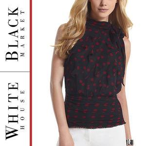 WHBM | 'Chiffon Dot' Tie Shoulder Blouse